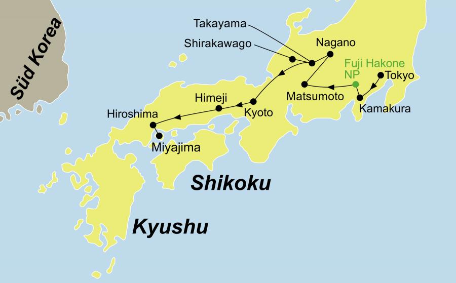 Der Reiseverlauf zu unserer Japan Reise - Japan Geisha startet in Tokio (Nikko) und endet in Osaka.