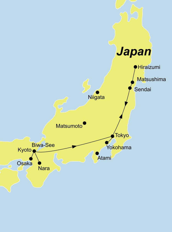 Der Reiseverlauf unserer Japan Reise - Japan für Kenner startet in Kyoto und endet in Tokio.