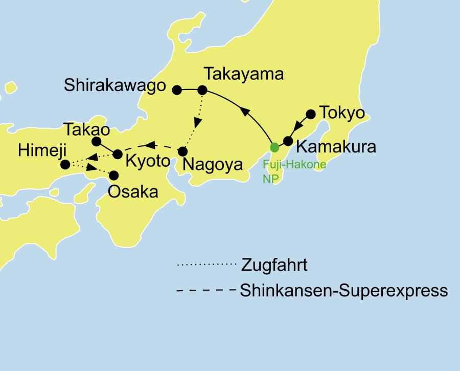 Der Reiseverlauf zu unserer Japan Reise - Kleingruppenreisen Origami startet in Tokio und endet in Osaka.