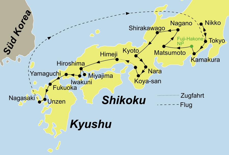 Der Reiseverlauf unserer Japan Reise - Japan Samurai startet in Tokio und endet in Nagasaki.