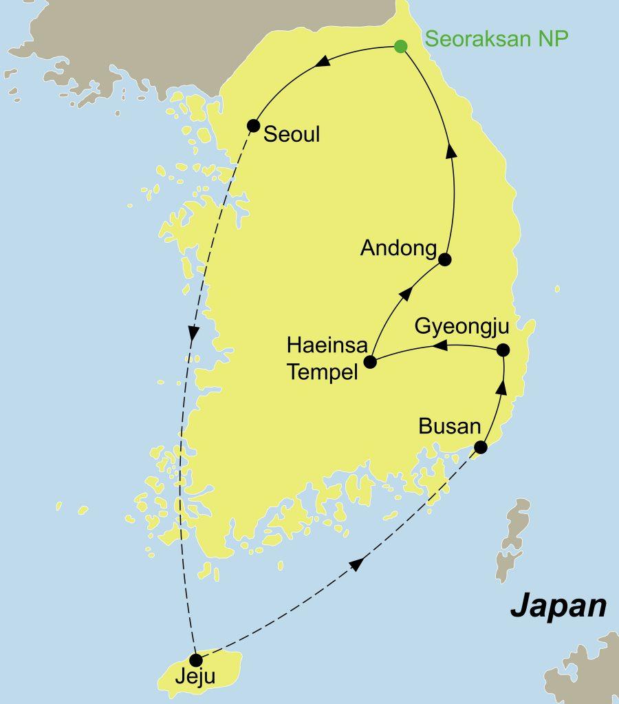 Der Reiseverlauf zu unserer Best of Korea Reise startet und endet in Seoul.