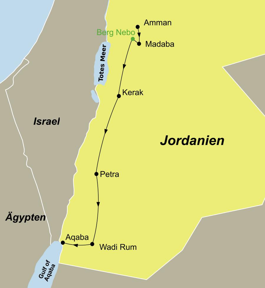 Der Reiseverlauf zu unserer Jordanien Reise Jordanien Deluxe startet in Amman und endet in Aqaba.
