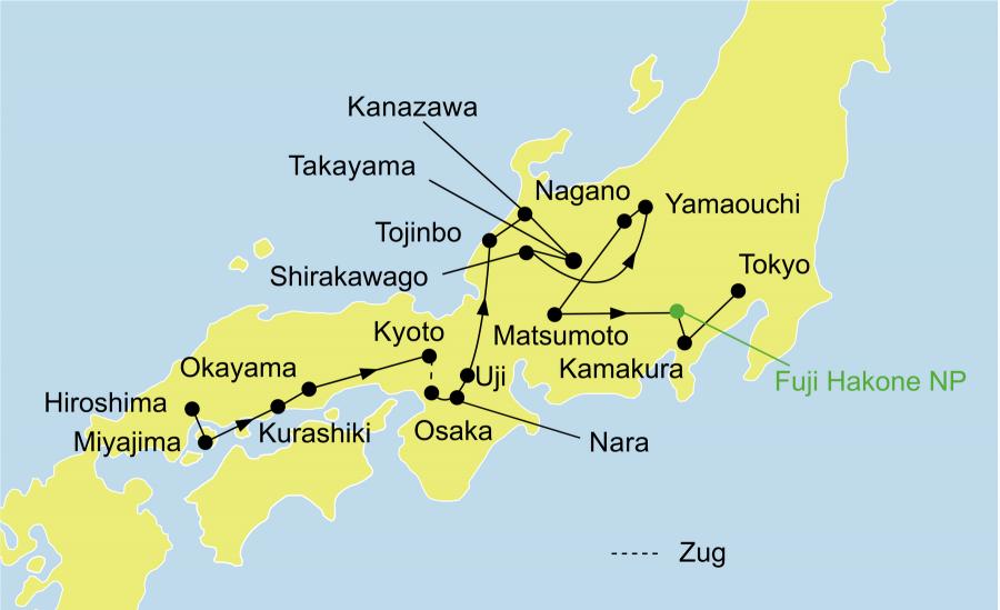 Der Reiseverlauf zu unserer Japan Reise - Japan Kabuki startet in Osaka und endet in Tokio.