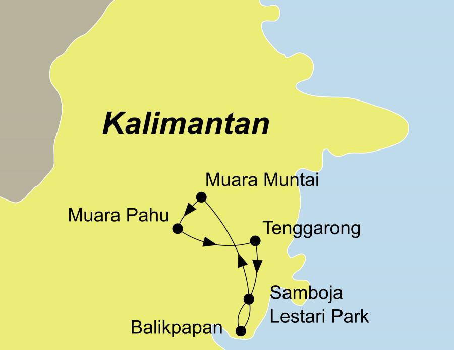 Die Kalimantan Rundreise führt von Balikpapan über Samboja Lestari Park, Mahakam, Muara Muntai, Muara Pahu, Tenggarong, Samboja Lestari Park zurück nach Balikpapan.