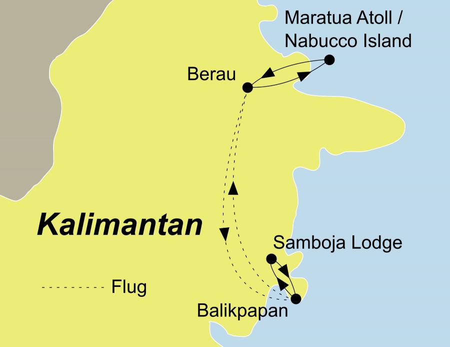 Der Reiseverlauf zu unserer Indonesien Reise startet und endet in Balikpapan.