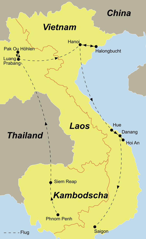 Der Reiseverlauf zu unserer Kambodscha Reise startet in Phnom Penh und endet in Saigon.