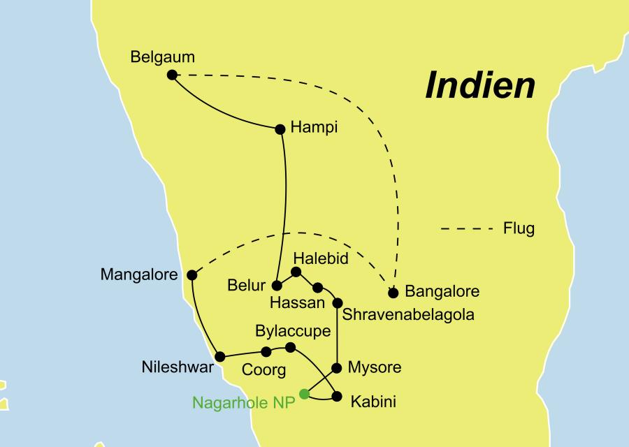 Der Reiseverlauf zu unserer Südindienreise startet in Bangalore und endet in Mangalore.