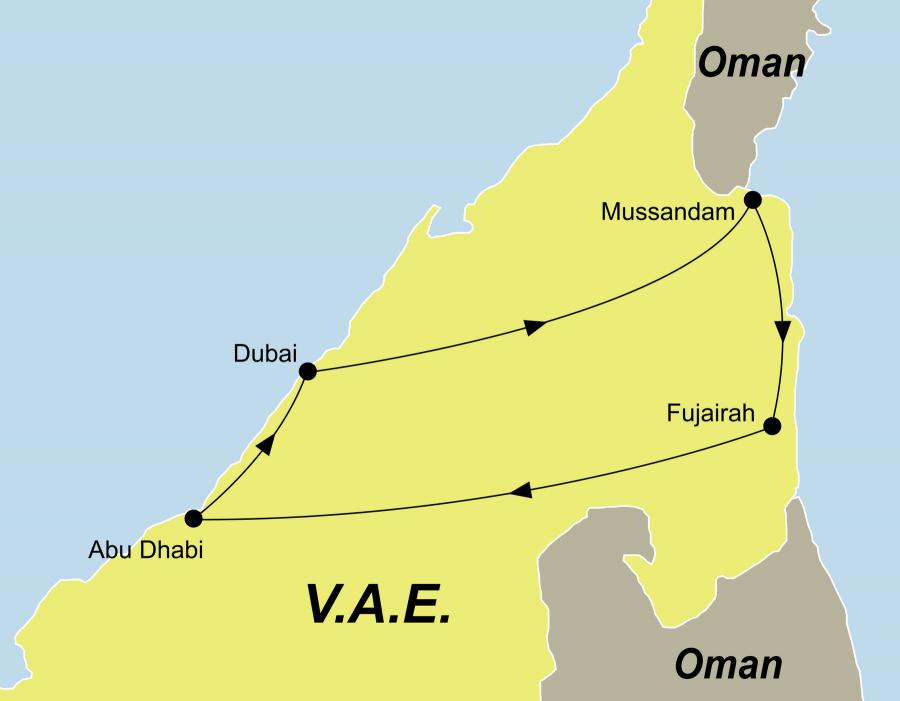 Die Emirate Rundreise fürht von Dubai über Musandam, Fujairah, Abu Dhabi zurück nach Dubai.