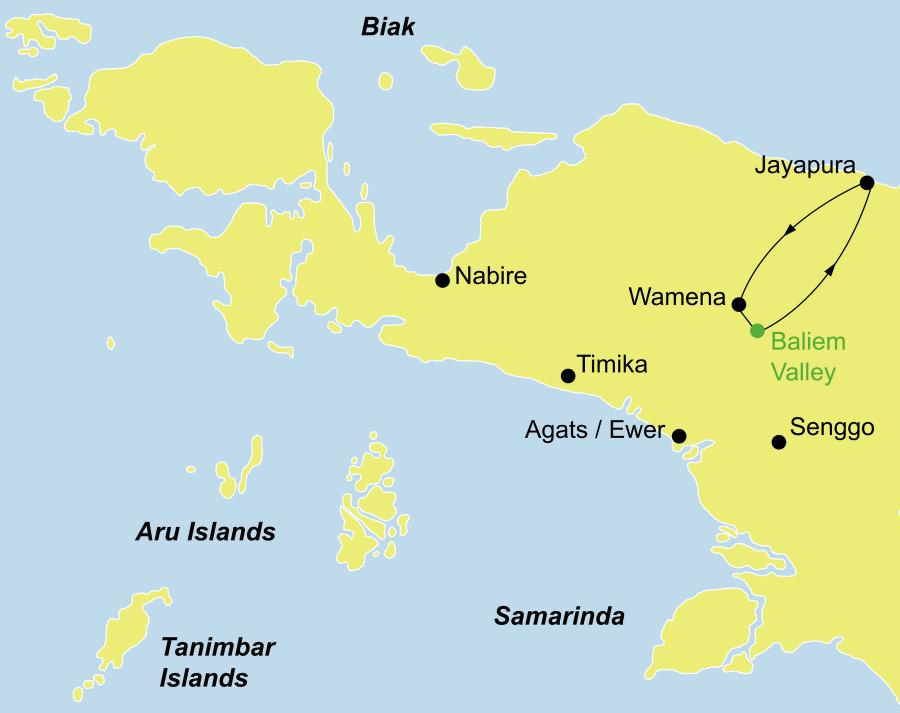 Die Irian Jaya Rundreise führt von Jayapura über Wamena, Baliem Valley zurück nach Jayapura.