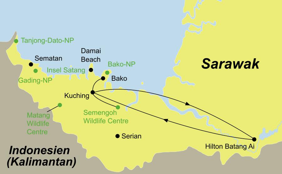 Der Reiseverlauf zu unserer Malaysia Reise Borneo Deluxe startet und endet in Kuching. Optional: Badeverlängerung auf Gaya Island.
