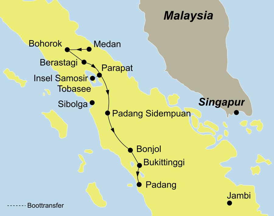 Die Sumatra Rundreise führt von Medan über Bohorok / Bukit Lawang (Gunung Leuser Nationalpark), Berastagi, Insel Samosir, Padang Sidempuan Bukittinggi nach Padang.