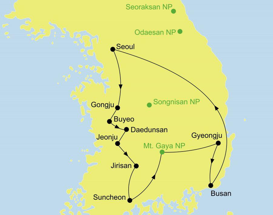 Der Reiseverlauf zu unserer Korea Reise startet und endet in Seoul.