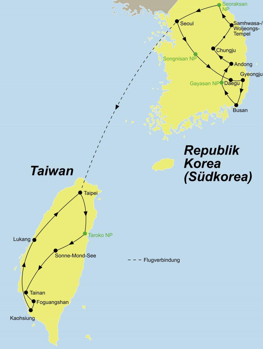 Der Reiseverlauf zun unserer Korea Taiwan Reise startet in Seoul und endet in Taipeh.