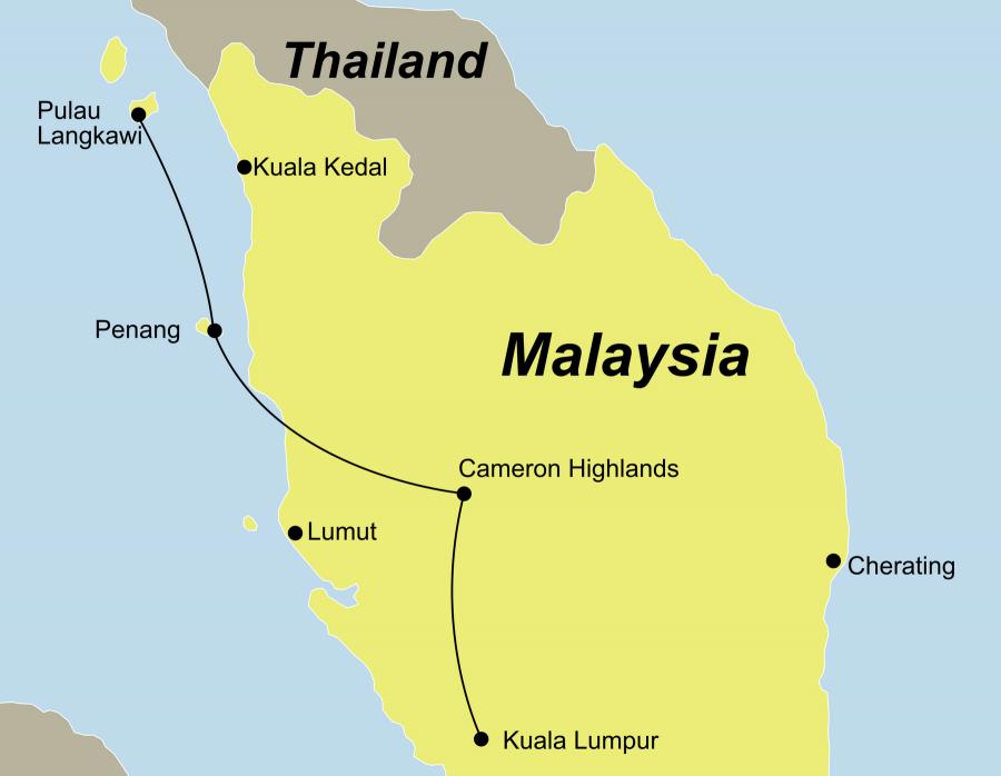 Die Malaysia Rundreise führt von Kuala Lumpur über die Batu Caves, die Cameron Highlands, Ipoh und Penang nach Langkawi.