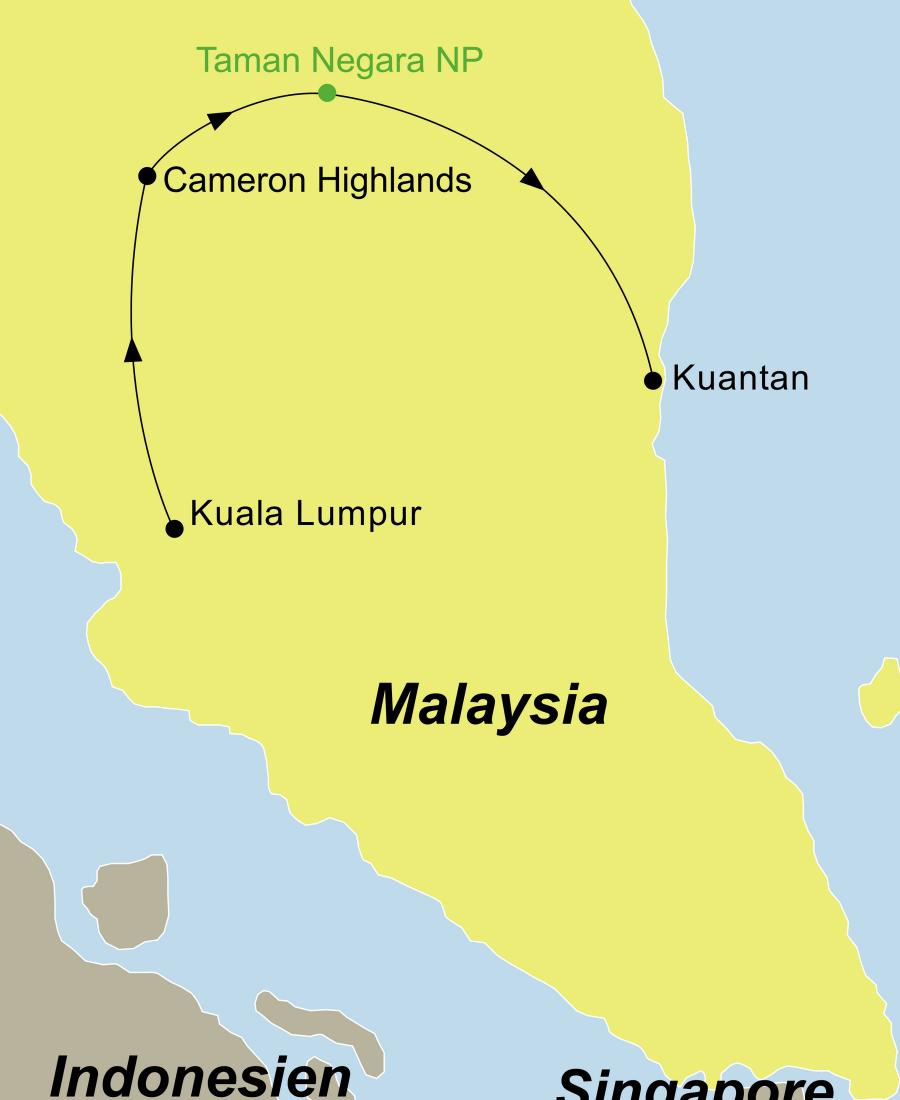 Die Malaysia Rundreise führt von Kuala Lumpur über die Cameron Highlands und den Taman Negara Nationalpark nach Kuantan.