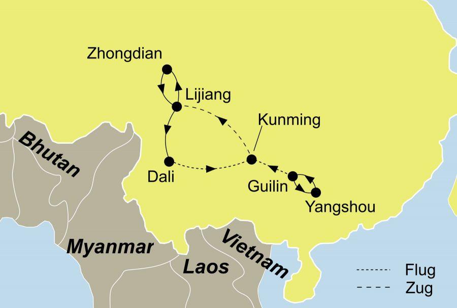 Die Reiseroute der China Rundreise führt von Guilin über Yangshuo, Kunming, Dali, Lijiang, Zhongdian nach Kunming.