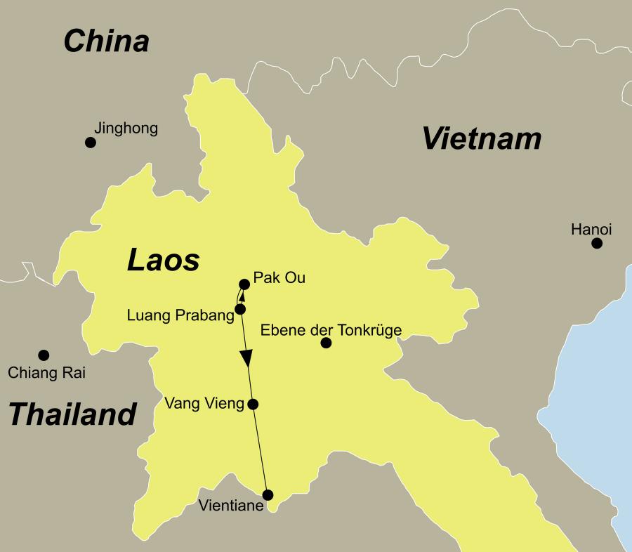 Die Laos Rundreise führt von Luang Prabang über die Pak Ou Höhlen und Vang Vieng nach Vientiane.