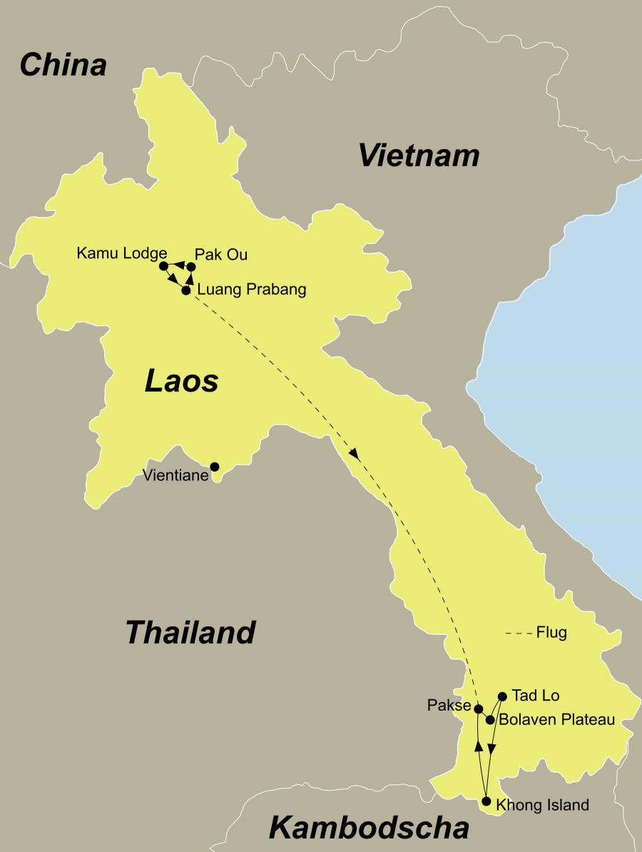 Der Reiseverlauf zu unserer Laos Reise von der Königsstadt Luang Prabang in den Süden startet in Luang Prabang und endet in Pakse.
