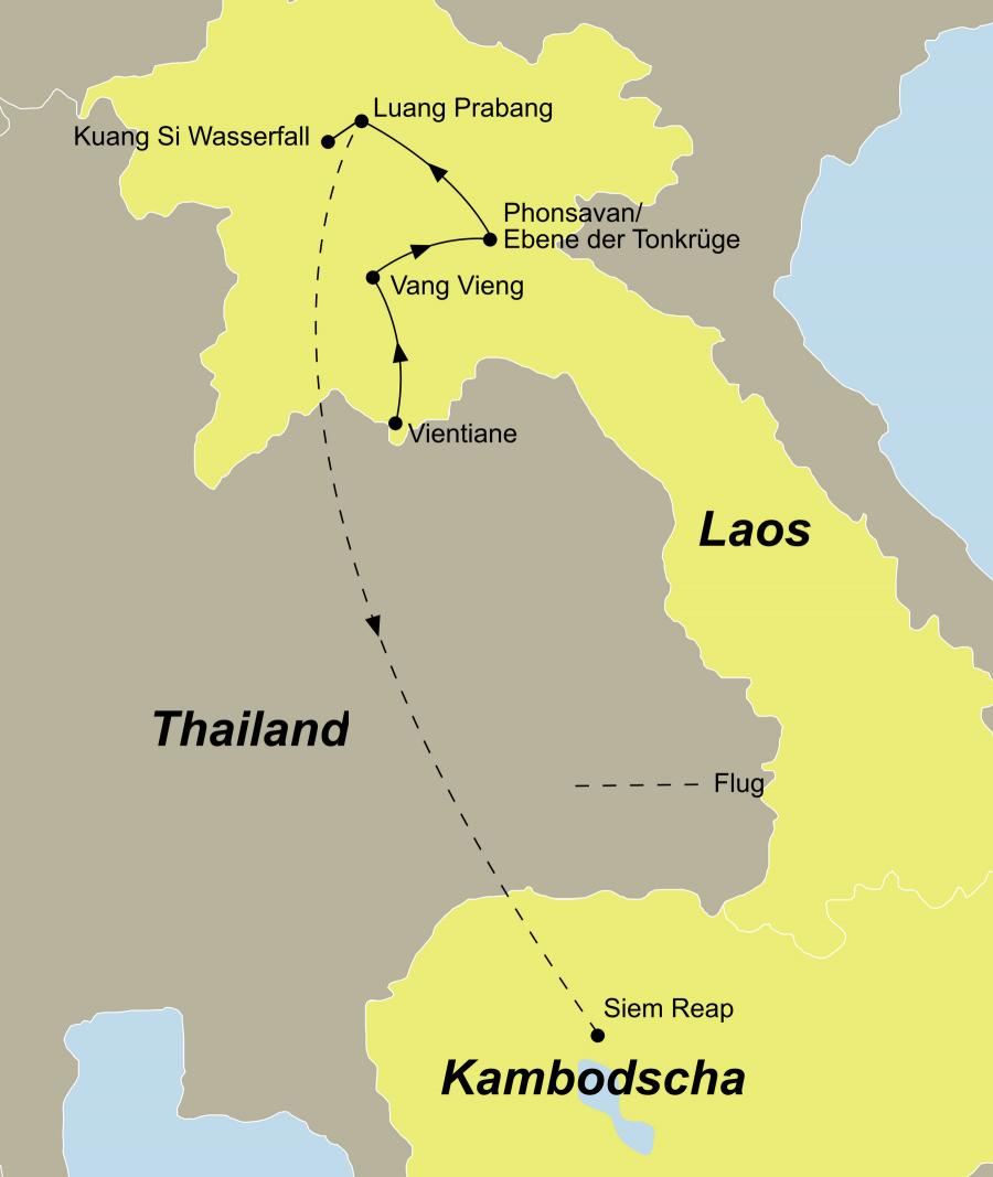 Der Reiseverlauf zu unserer Laos Reise startet in Vientiane und endet in Siem Reap.
