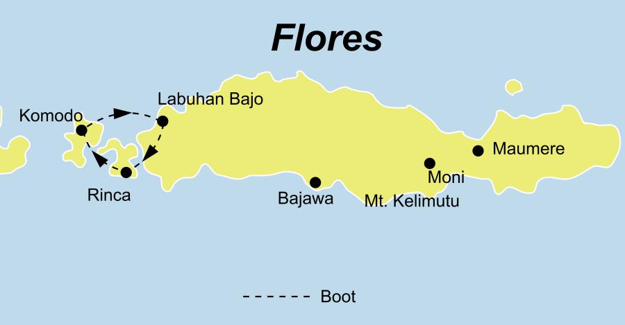 DieIndonesien Rundreise führt von Labuan Bajo über Rinca Island, Komodo, Pink Beach, Labuan Bajo, Ruteng, Bajawa, Riung, Ende, Moni, Kelimutu, Jopu nach Maumere.