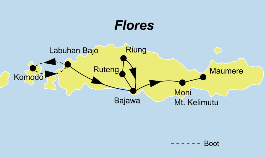 Die Indonesien Rundreise führt von Labuan Bajo über Rinca, Komodo zurück nach Labuan Bajo.