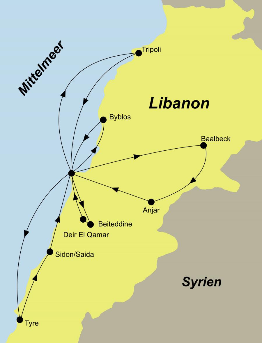 Die Libanon Rundreise führt von Beirut über Tyre, Saida, Tripoli, Harissa, Byblos, Deir El Qamar, Beiteddine, Baalbek, Anjar zurück nach Beirut.