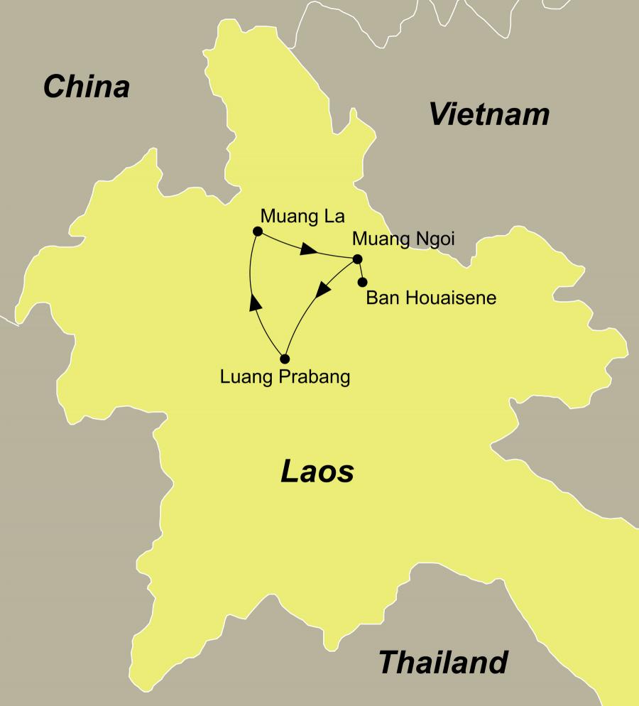 Die Laos Rundreise führt von Luang Prabang über Oudomxay/Muang La, Muang Khua, Muang Ngoi, Ban Houaysene, Muang Ngoi zurück nach Luang Prabang.