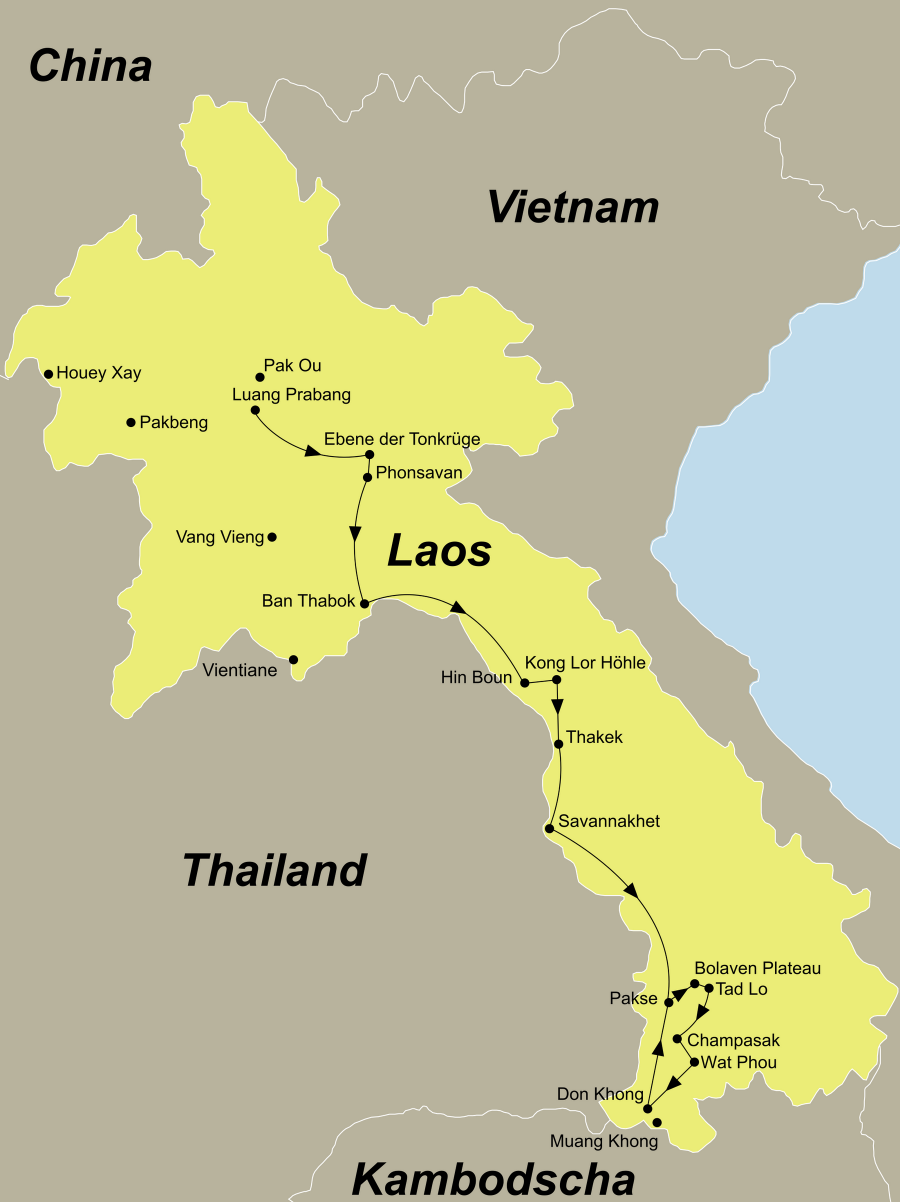Die Laos Rundreise führt von Luang Prabang über die Ebene der Tonkrüge, Ban Thabuk, Hin Boun, Kong Lor Höhle, Thakek, Savannakhet, Pakse, Bolaven-Plateau, Tadlo, Champassak, Wat Phou, Khong Island nach Pakse.