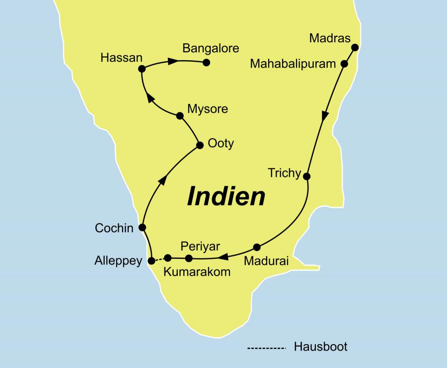 Die Indien Rundreise führt von Madras (Chennai) über Mahabalipuram, Trichy, Madurai, Periyar, Kumarakom, Alleppey, Cochin, Ooty, Mysore, Hassan nach Bangalore.