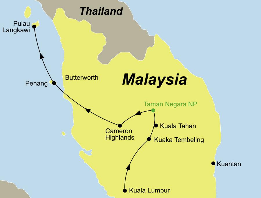 Die Malaysia Rundreise führt von Kuala Lumpur über den Taman Negara Nationalpark, die Cameron Highlands und Penang nach Langkawi.