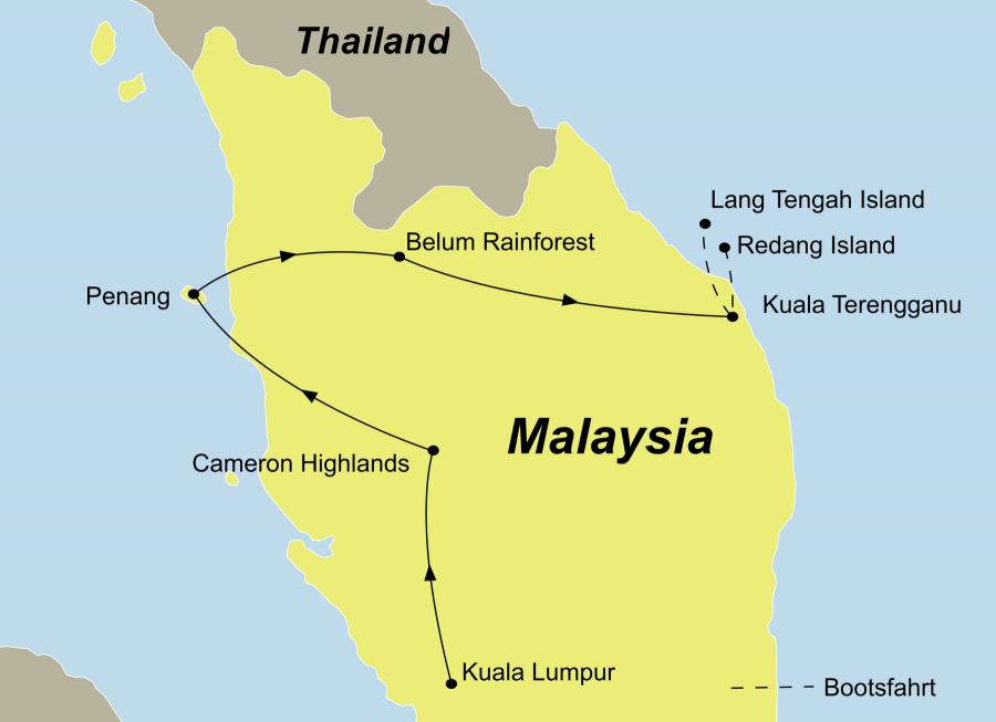 Der Reiseverlauf zu unserer Malaysia Reise Malyasi Individuell mit Redang Lang Tengah startet in Kuala Lumpur und endet in Lang Tengah oder Redang Island.