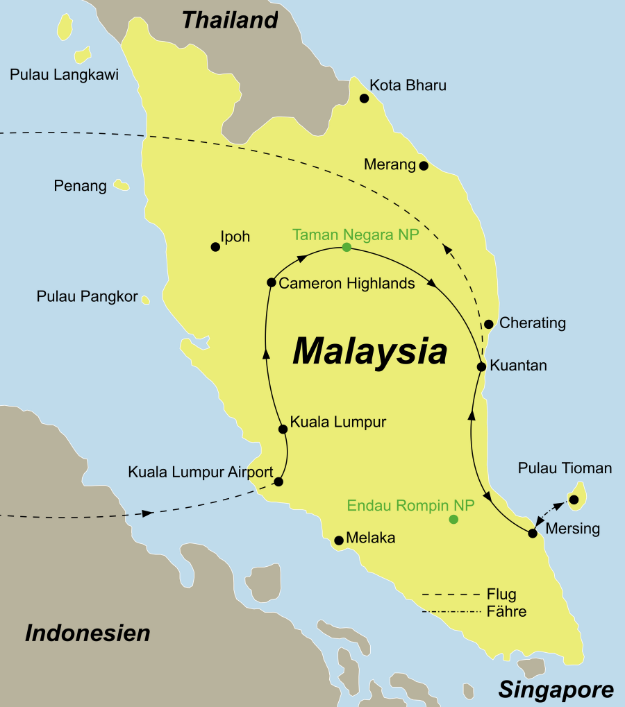 Der Reiseverlauf zu unserer Malaysia Reise Malyasia - von West nach ost mit Baden auf Tioman startet in Kuala Lumpur und endet in Tioman.