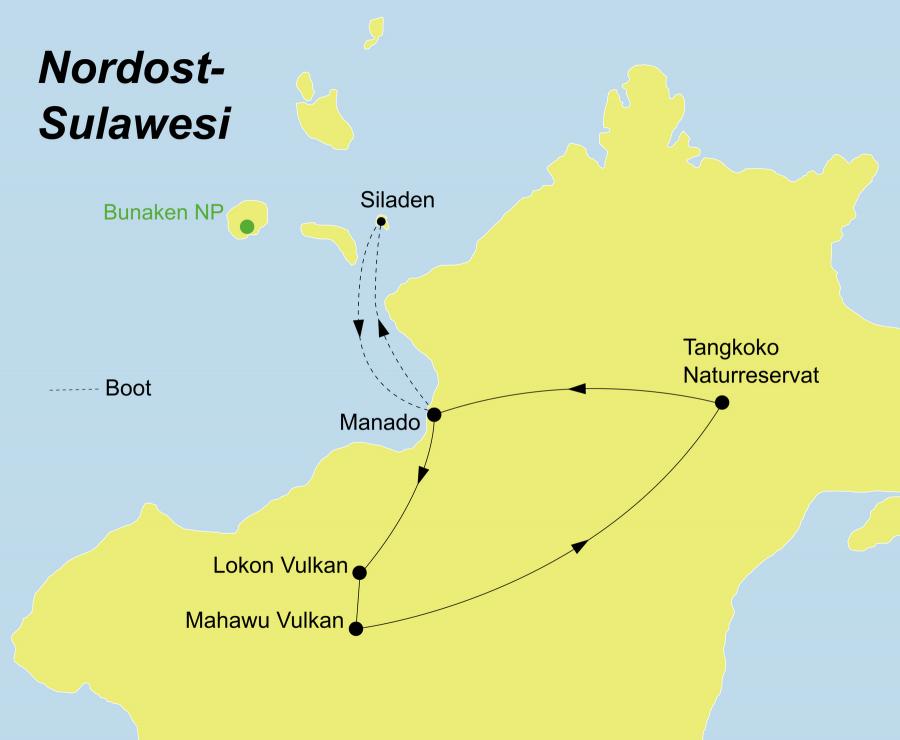 Die Sulawesi Rundreise führt von Manado über Lokon Vulkan, Mahawu Vulkan, Tangkoko Naturreservat zurück nach Manado.