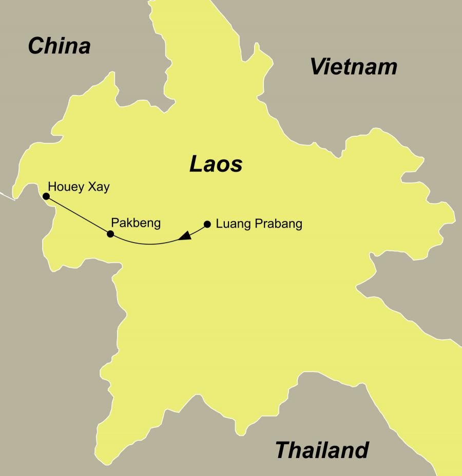 Die Laos Rundreise führt von Luang Prabang über Pak Beng nach Huay Xai.