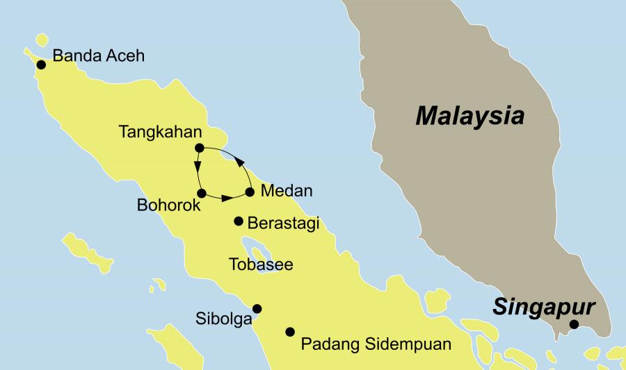 Die Sumatra Rundreise führt von Medan über Tangkahan/Trekking-Tour, Bohorok/Trekking im Gunung Leuser Nationalpark zurück nach Medan.