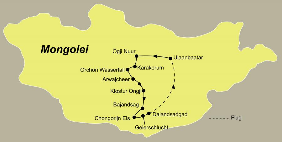 Die Mongolei Rundreise führt von Ulaanbaatar nach Karakorum, Orchon-Wasserfall, Naiman Nuur, Kloster Ongii, Bajanzag, Khongoryn Else, Dalanzadgad zurück nach Ulaanbaatar.