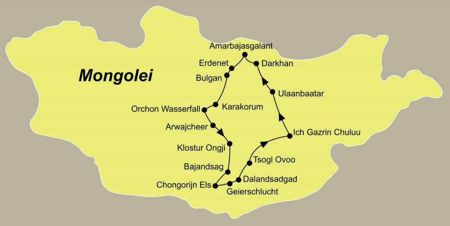 Die Mongolei Rundreise führt von Ulaanbaatar über Kloster Amarbajasgalant, Erdenet, Bulgan, Ögij Nuur, Karakorum, Arwajcheer, Bajandsag, Dalandzadgad, Mandelgobi zurück nach Ulaanbaatar.