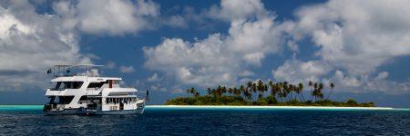 Während einer Tauchsafari auf den Malediven passiert die MY Sheena zahlreiche Trauminseln im Indischen Ozean.