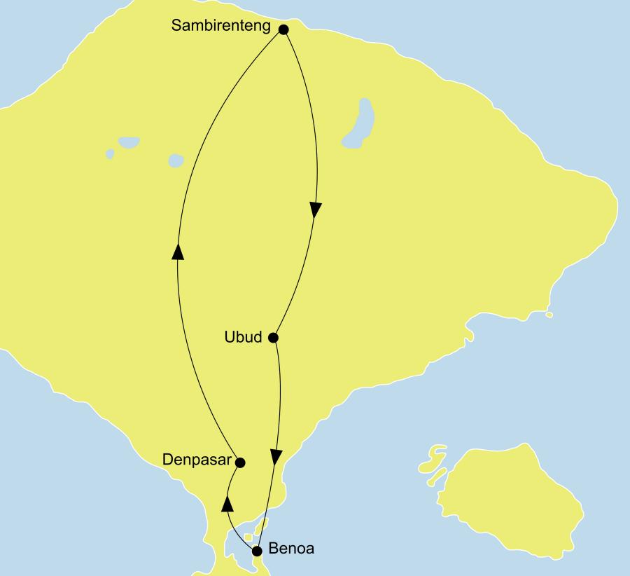 Der Reiseverlauf zu unserer Bali - Singapur Reise Metropole Singapur & facettenreiches Bali startet in Singapur und endet in Bali: Denpasar.