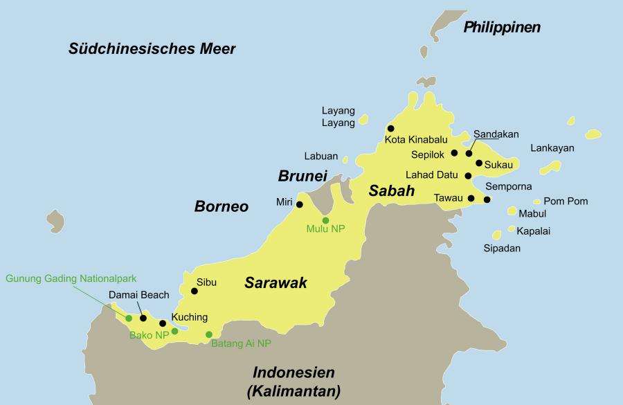 Die Borneo Rundreise führt von Mulu über den Mulu Nationalpark wieder nach Mulu zurück.
