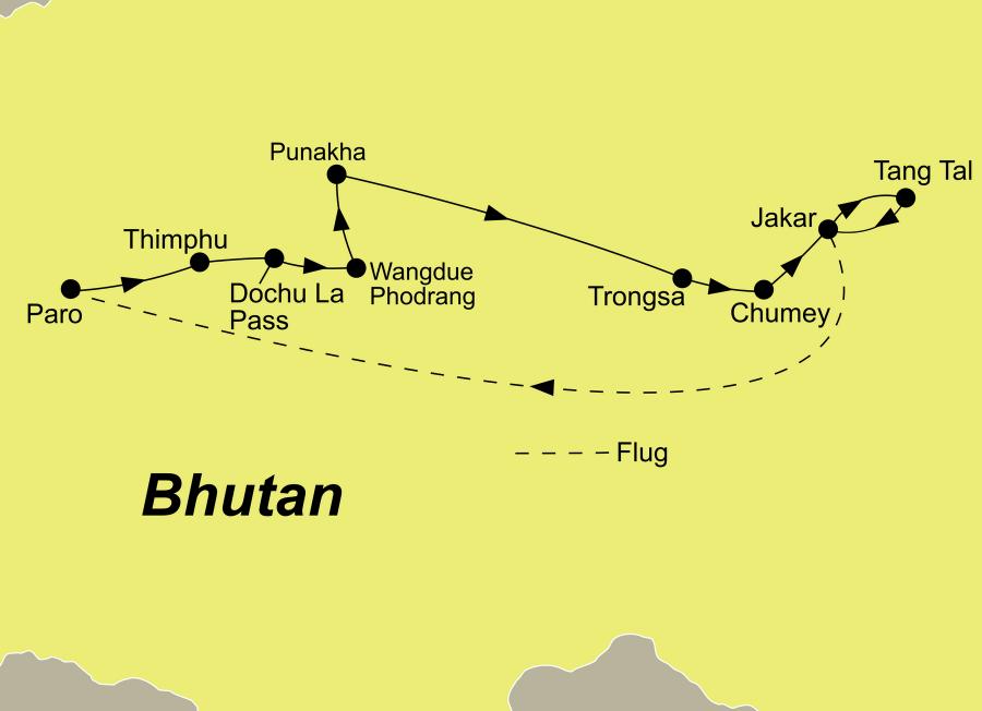 Die Bhutan Rundreise führt von Paro über Thimphu, den Dochu La Pass, Wangdue Phodrang, Punakha, Trongsa, das Chumey Tal, Jakar und das Tang Tal zurück nach Paro.