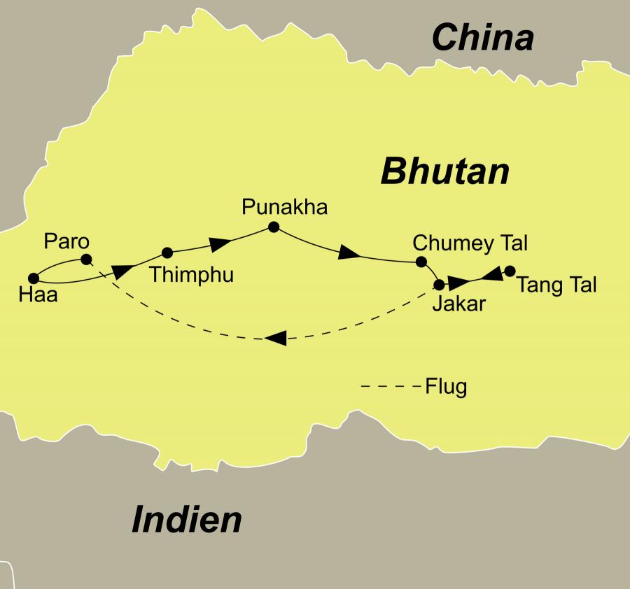Der Reiseverlauf zu unserer Bhutan Aktivreise - Wandern auf alten Pilgerpfaden startet und endet in Paro.