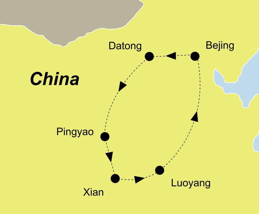 Die Reiseroute der China Rundreise führt von Peking über Datong, Pingyao, Xian, Luoyang nach Peking.