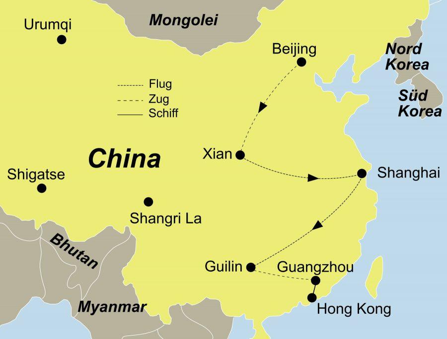 Der Reiseverlauf zu unserer China Reise: China Höhepunkte startet in Peking und endet in Hongkong.