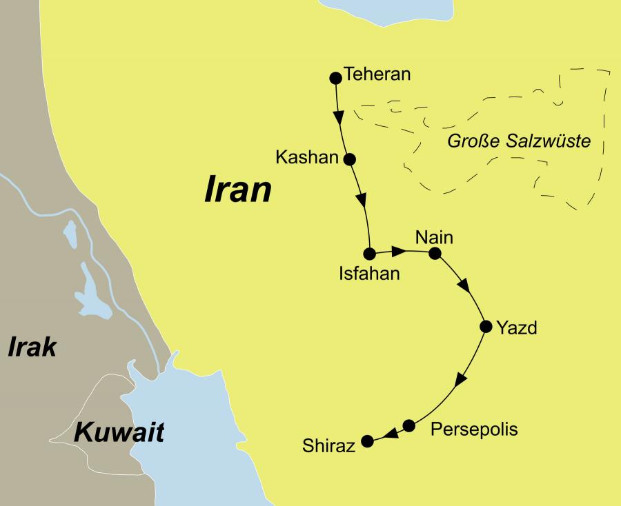 Der Reiseverlauf zu unserer Iran Reise Iran erleben startet in Teheran und endet in Shiraz.