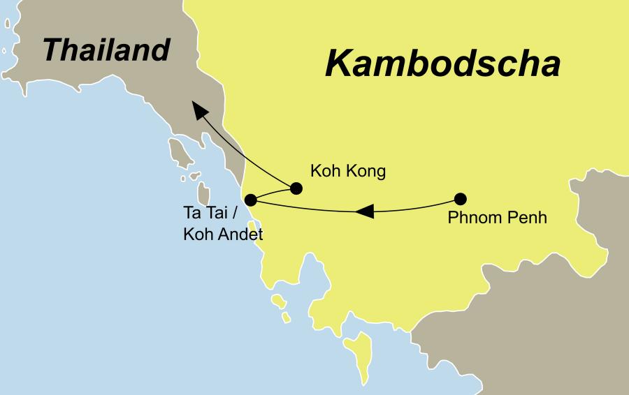 Die Nachhaltig Reisen Kambodscha Rundreise führt von Phnom Penh über Ta Tai, Koh Andet, Koh Kong nach Thailand.