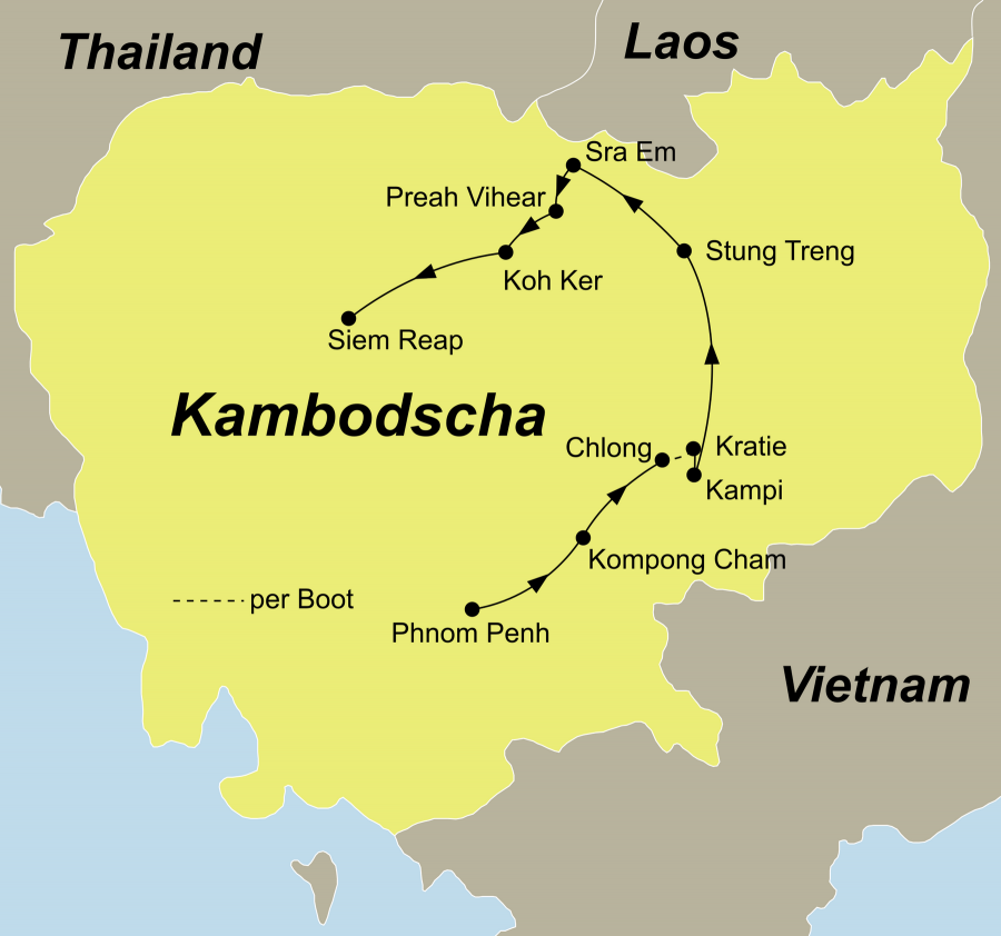 Die Kambodscha Rundreise Best of Kambodscha – Mekong-Tour für Entdecker führt von Phnom Penh über Kampong, Cham, Chlong, Kratie, Kampi, Sambo, Stung Treng, Sra Em, Prasat Preah Vihear Tempel, Tempel Beng Mealea, Tempelkomplex Koh Ker nach Siem Reap.