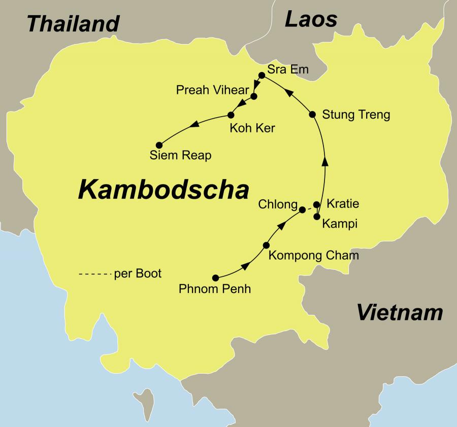 Die Kambodscha Rundreise führt von Phnom Penh über Kampong, Cham, Chlong, Kratie, Kampi, Sambo, Stung Treng, Sra Em, Prasat Preah Vihear Tempel, Tempel Beng Mealea, Tempelkomplex Koh Ker nach Siem Reap.