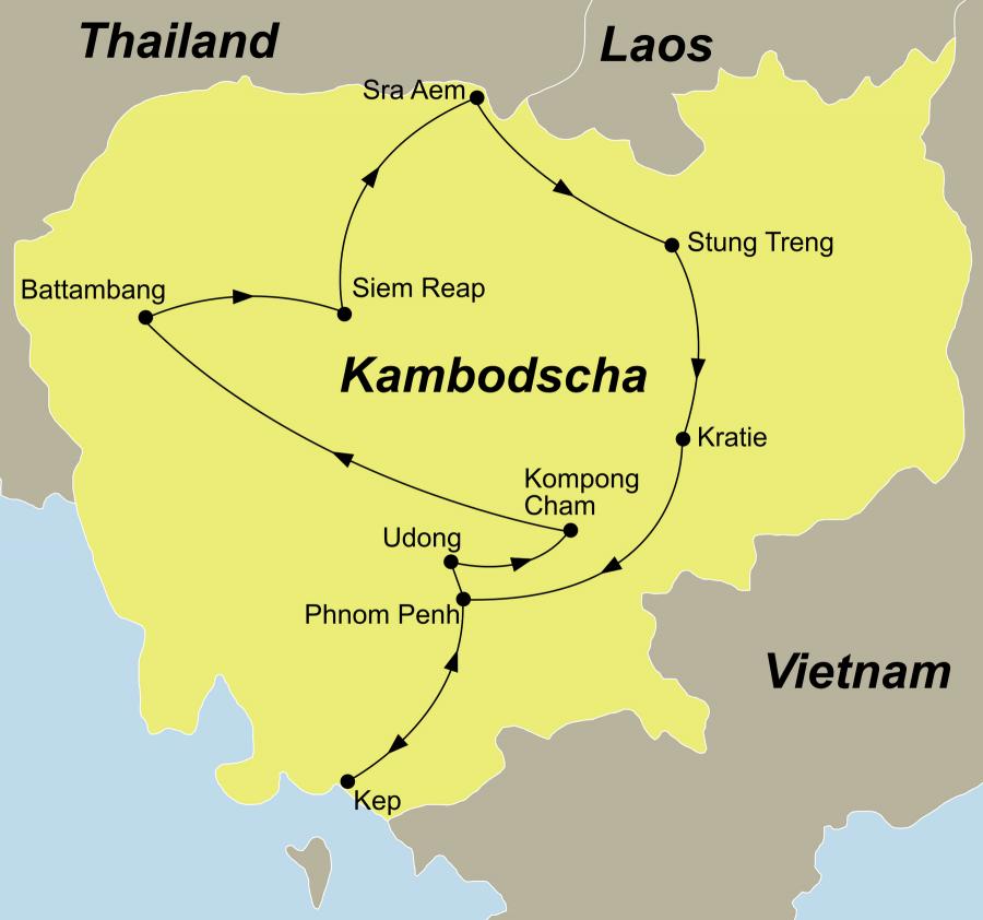 Der Reiseverlauf zu unserer Kambodscha Rundreise unbekanntes Kambodscha startet und endet in Phnom Penh.