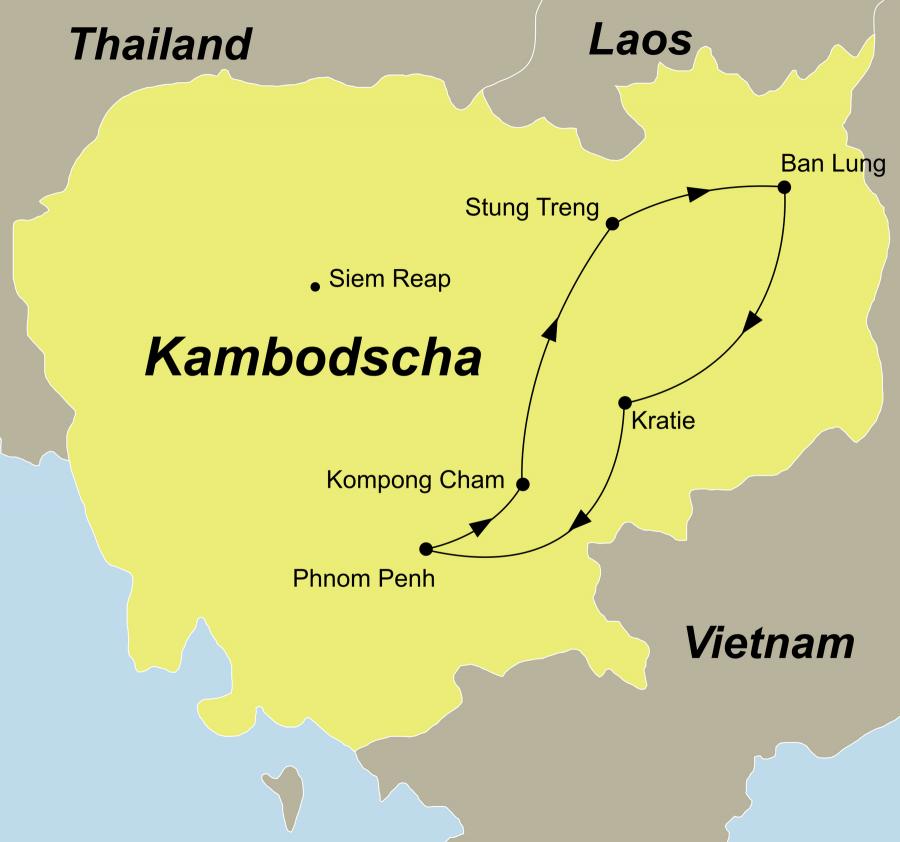 Die Kambodscha Rundreise führt von Phnom Penh über Kampong Cham, Stung Treng, Banlung, Kratie zurück nach Phnom Penh.